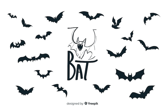 Halloween bats silhouette collection Free Vector