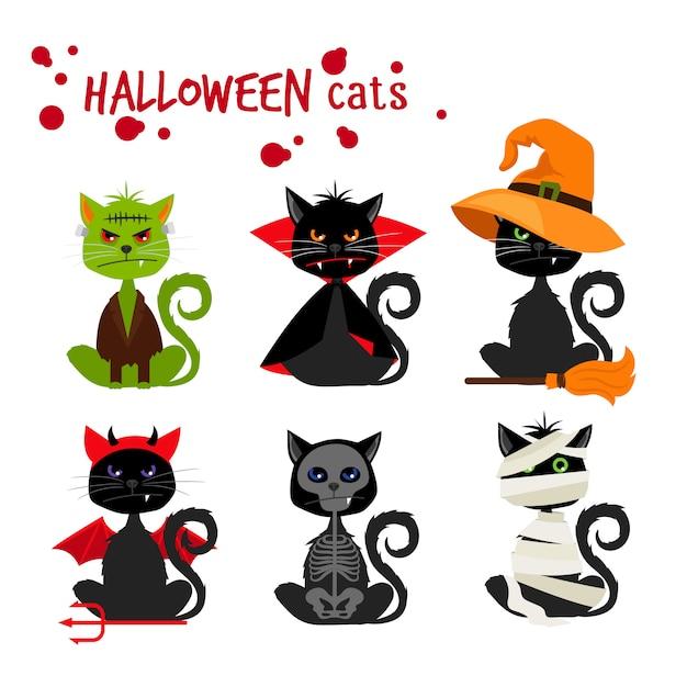 Halloween black cat fashion costume outfits Premium Vector