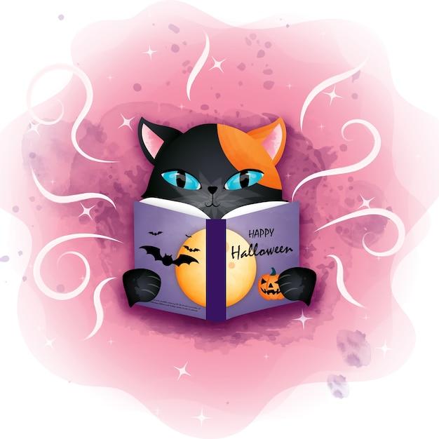 할로윈 검은 고양이 할로윈 책을 읽고. 프리미엄 벡터