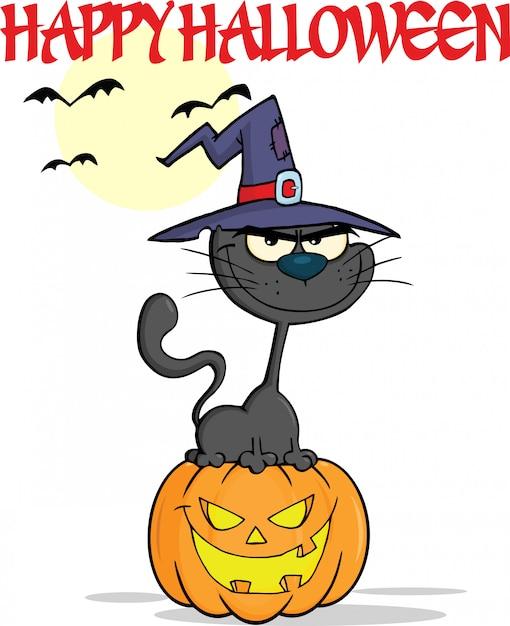 Halloween black cat with a witch hat on pumpkin cartoon Premium Vector