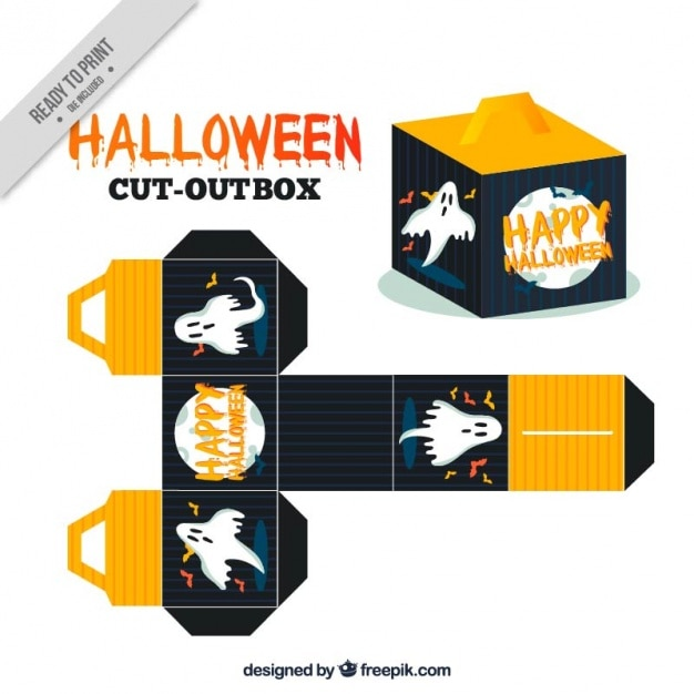 Halloween box with a creepy ghost and the full moon Vector