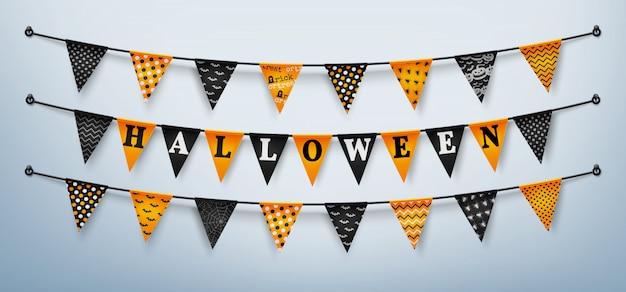 Halloween buntings for happy halloween Premium Vector