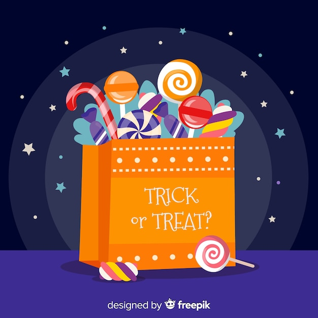 Halloween candies bag with flat design Free Vector