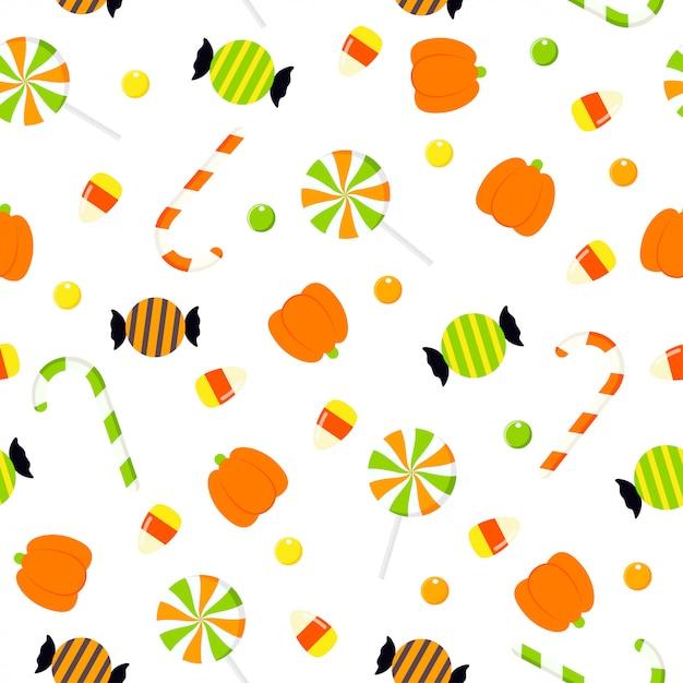 Halloween candies seamless pattern illustration Premium Vector