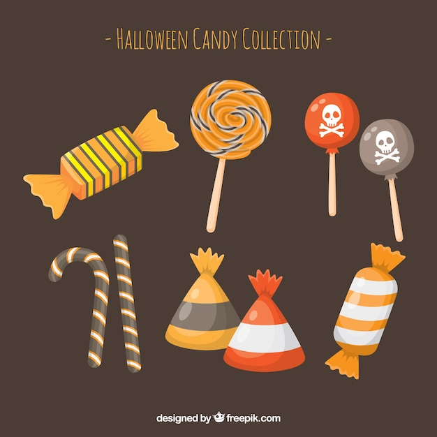 Classic Halloween Candy.Free Vector Halloween Candies With Classic Style