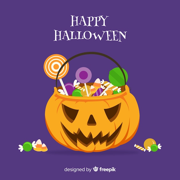 Halloween candy bag background design Free Vector