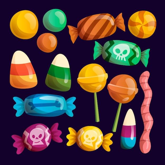 Тема коллекции конфет на хэллоуин Бесплатные векторы