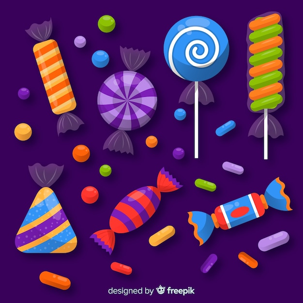 Halloween candy collection Free Vector