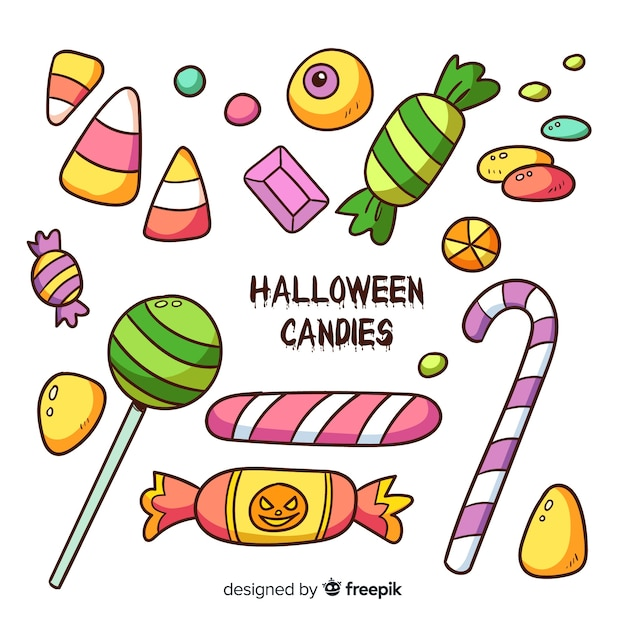 Halloween candy set Free Vector