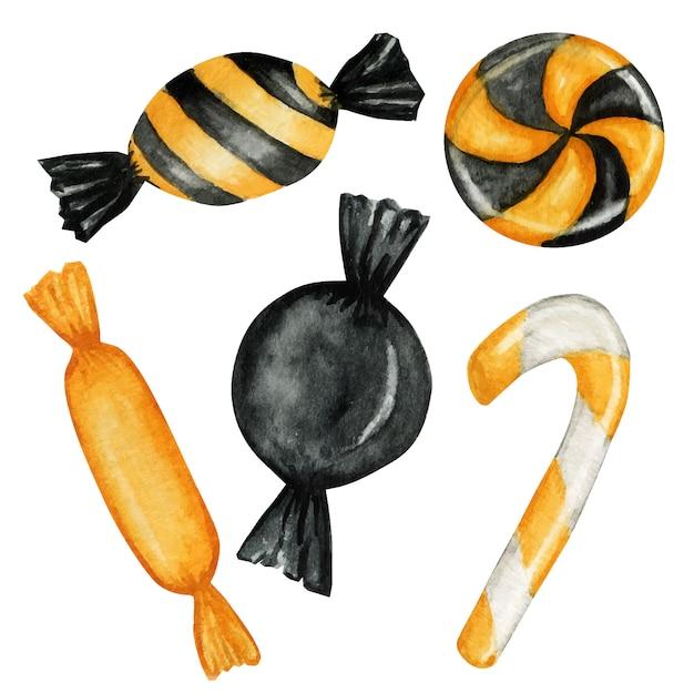 아이들을위한 할로윈 사탕 과자 세트. 전통적인 10 월 휴가 색상으로 오락을 속이거나 대접하세요. 프리미엄 벡터