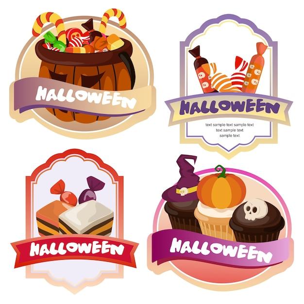 Halloween candy treats cute label Premium Vector