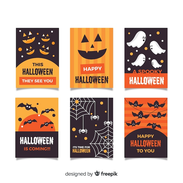Halloween card collection in flat design Free Vector
