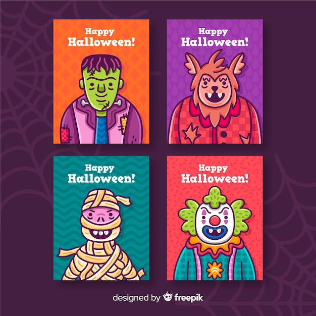Halloween card collection on violet background with cobweb Free Vector