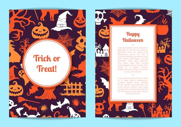 Halloween card or flyer template Premium Vector