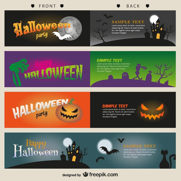 Halloween card templates set