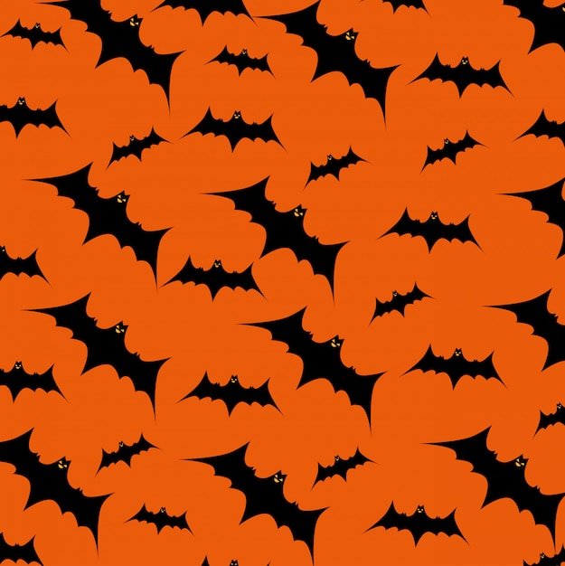 Halloween card with bats flying pattern Free Vector