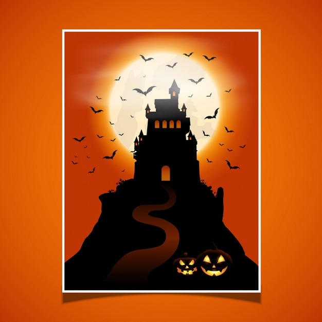 Halloween card with castle and pumpkins