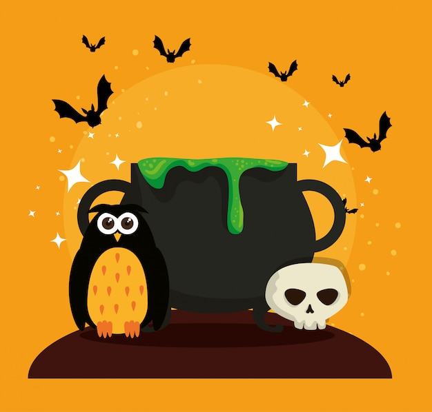 Halloween card with cauldron and owl Free Vector
