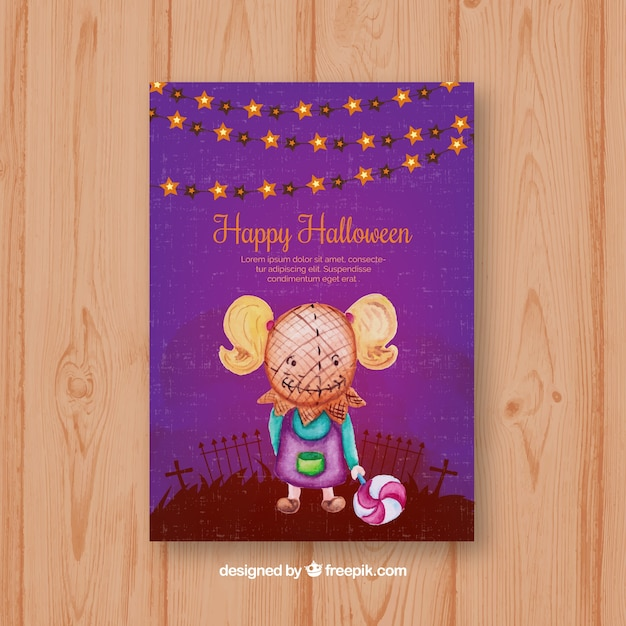 halloween card with girl wearing a creepy mask free vector - Free Animated Halloween Cards