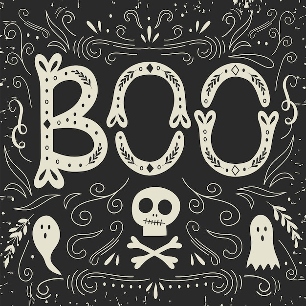 Halloween card with lettering. Premium Vector