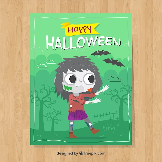 halloween card with lovely zombie free vector - Free Animated Halloween Cards