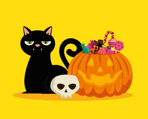 Halloween card with pumpkin and black cat Free Vector
