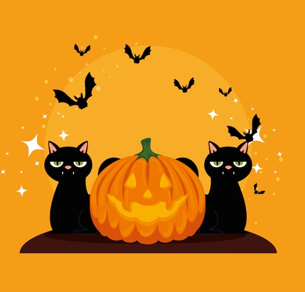 Free Vector Halloween Card With Pumpkin And Cats Blacks
