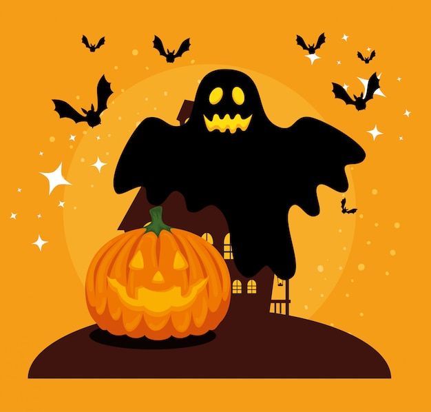 Halloween card with pumpkin and ghost Free Vector