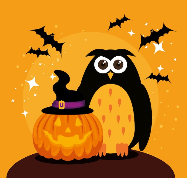 Halloween card with pumpkin and owl Free Vector