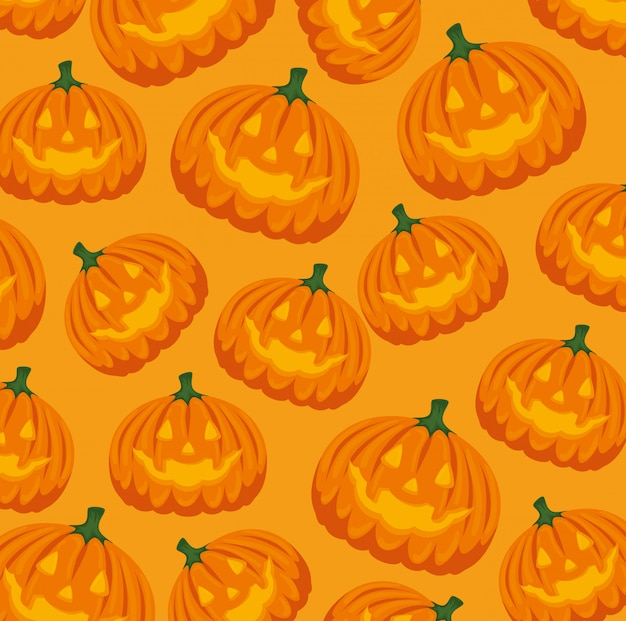 Halloween card with pumpkin pattern background Free Vector