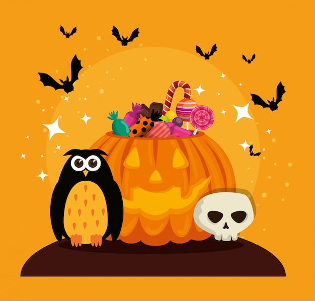 Halloween card with pumpkin and skull Free Vector