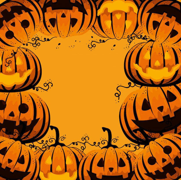 Halloween card with pumpkins pattern Free Vector