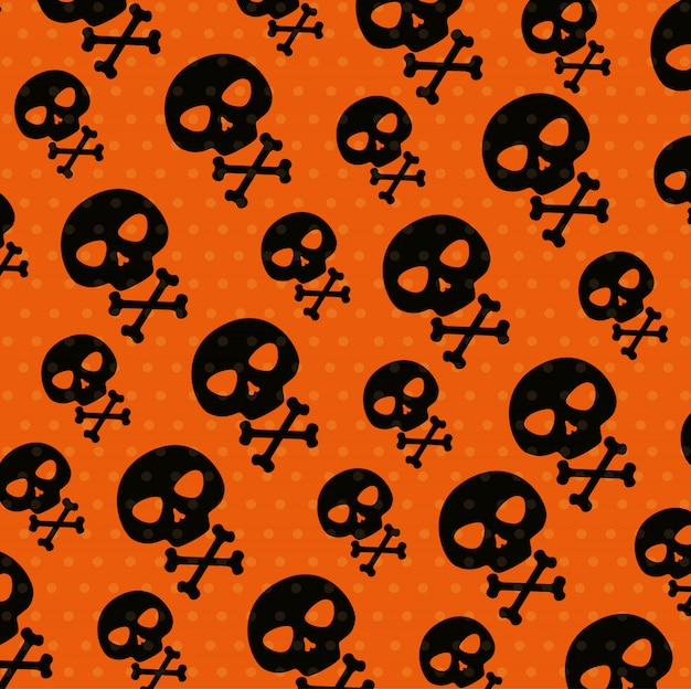 Halloween card with skulls pattern Free Vector