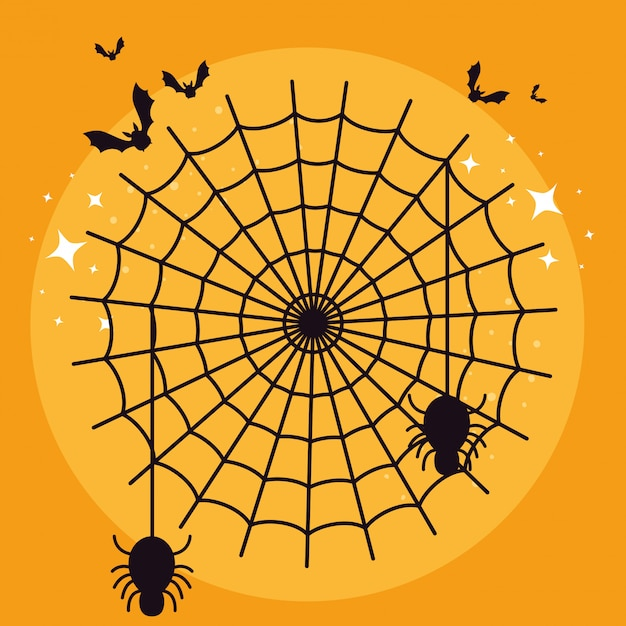 Halloween card with spider web and bats flying Free Vector