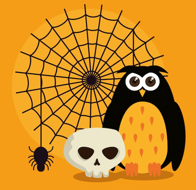 Halloween card with spider web and owl Free Vector