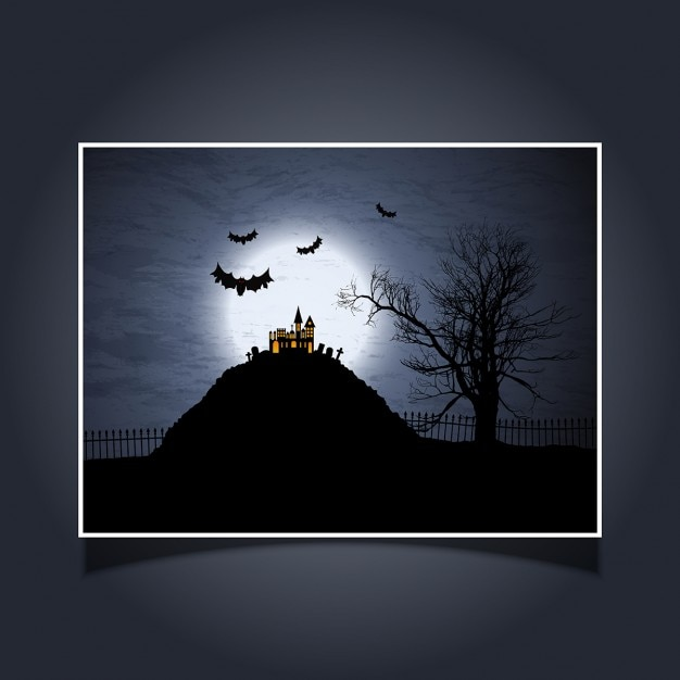 Halloween Card With Spooky House And Bats Free Vector