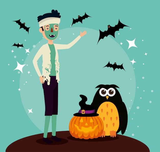 Halloween card with zombie disguise and owl Free Vector