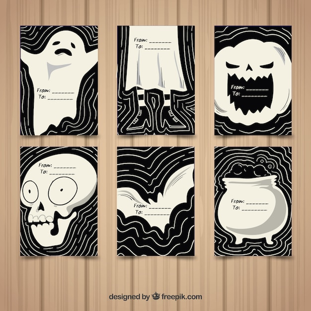 Halloween cards with hand drawn style
