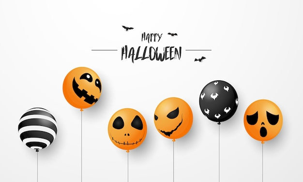 Хэллоуин карнавал фон, оранжевые фиолетовые воздушные шары, вечеринка дизайна концепции, иллюстрация празднования. Premium векторы