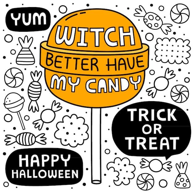 Halloween cartoon background Premium Vector