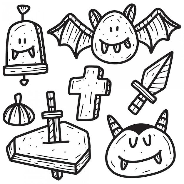 Halloween cartoon doodle  template Premium Vector