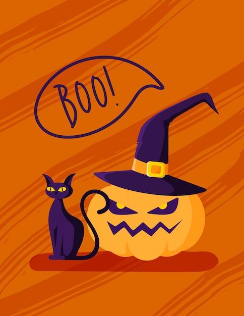 Хэллоуин мультфильм поздравительная открытка или детский плакат - тыквенный фонарь в шляпе ведьмы, черная кошка на оранжевом фоне, копия шаблона пространства Premium векторы
