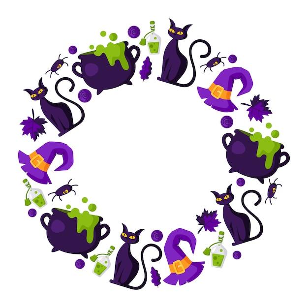 요소와 할로윈 만화 라운드 프레임-무서운 검은 가지 고양이, 가마솥 및 물약, 사탕, 가을 잎, 거미와 병 프리미엄 벡터