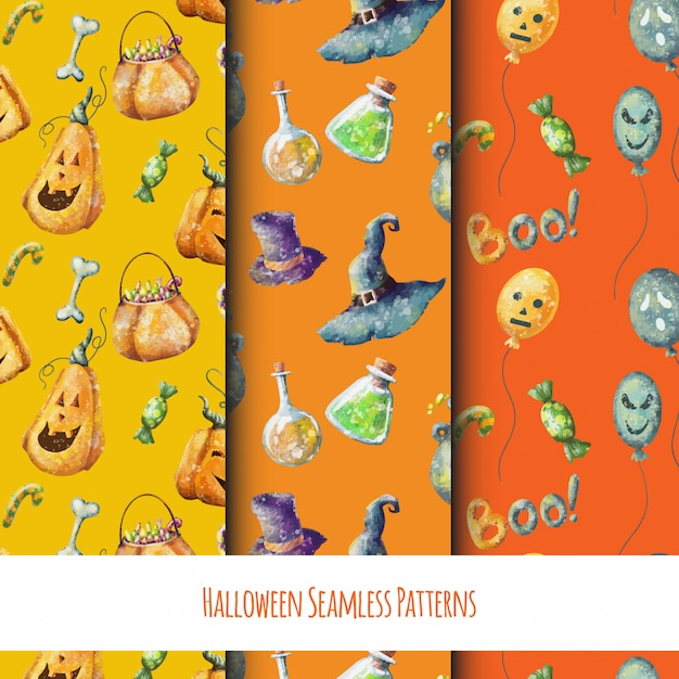 Halloween cartoon set of seamless funny patterns Premium Vector