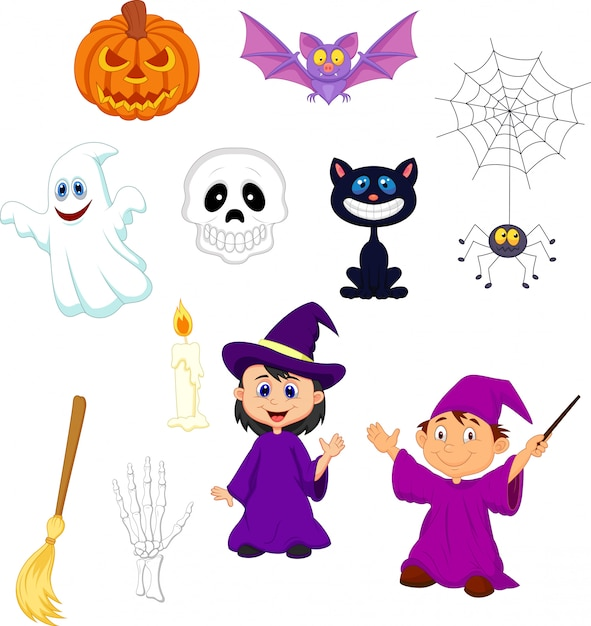Halloween cartoon set Premium Vector