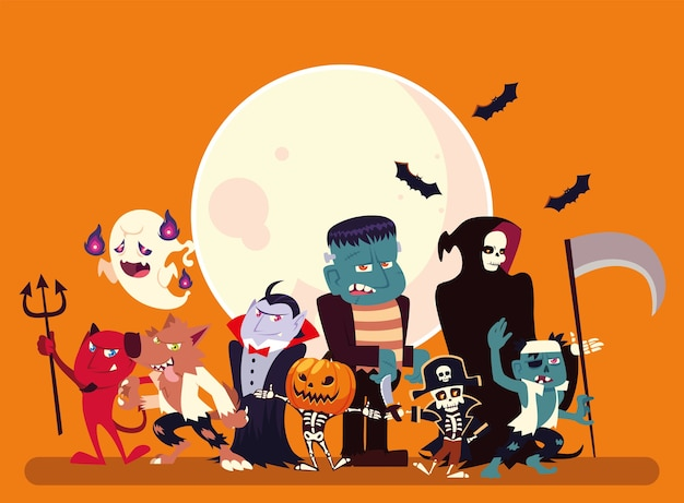 Premium Vector Halloween Cartoons With Moon And Bats Design Holiday And Scary Theme Illustration