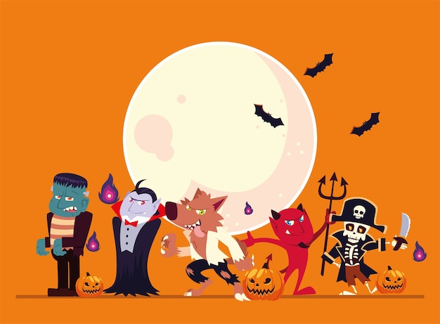 Premium Vector Halloween Cartoons With Moon And Bats Design Holiday And Scary Theme