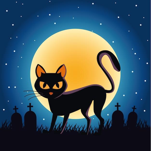 밤 장면에서 묘지에 보름달과 검은 할로윈 고양이 프리미엄 벡터