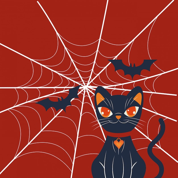 Halloween cat disguised character scene Free Vector