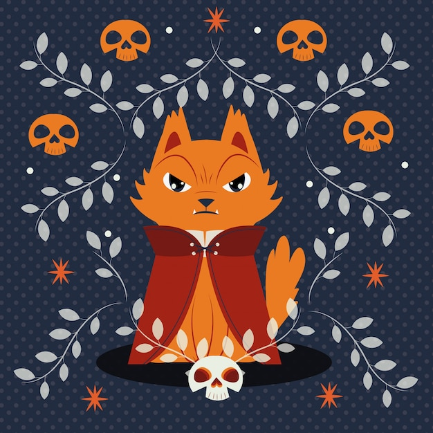 Halloween cat disguised of dracula character Free Vector